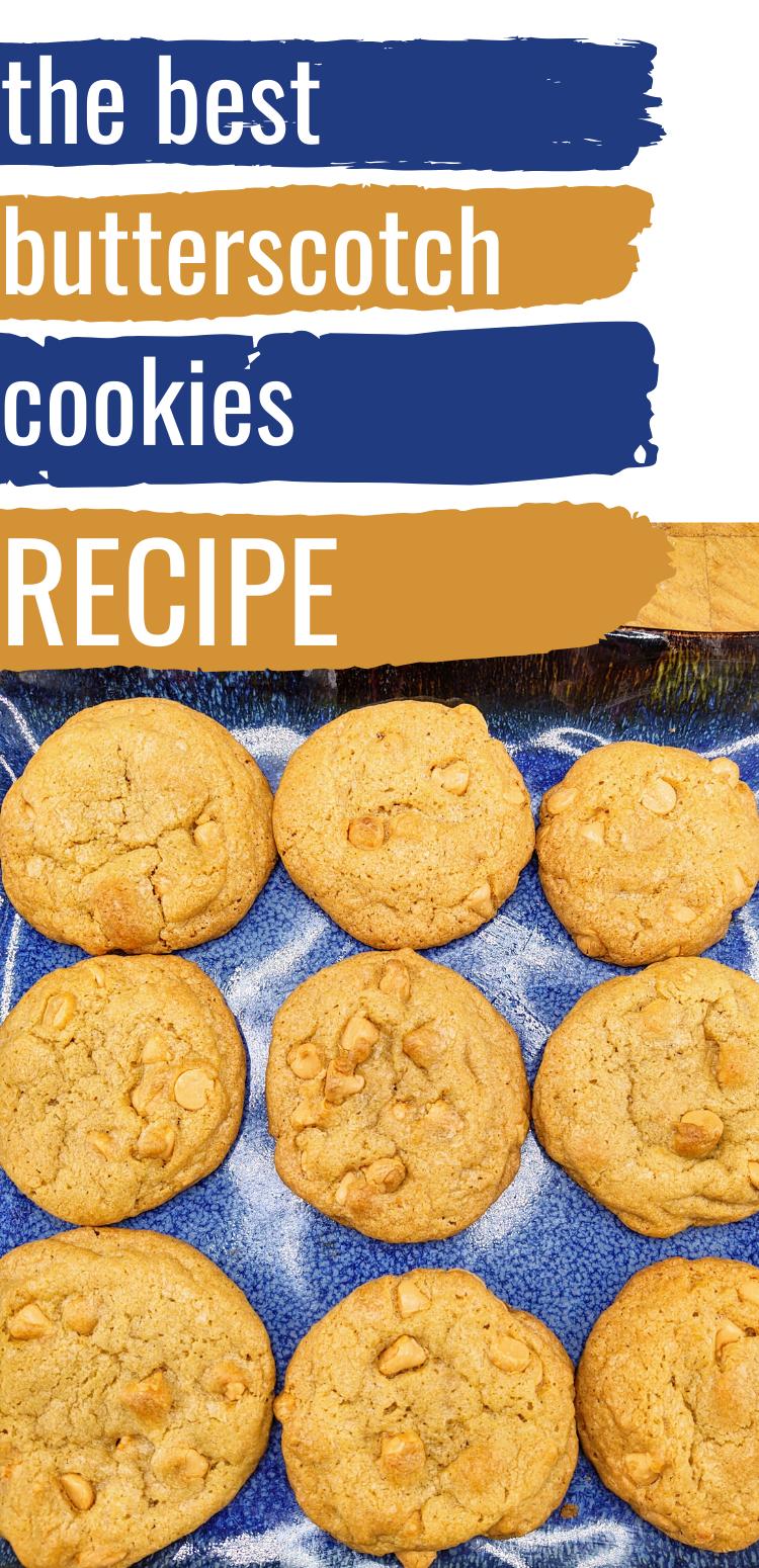 "pinterest image of butterscotch cookies. Text reads, ""the best butterscotch cookies recipe"""