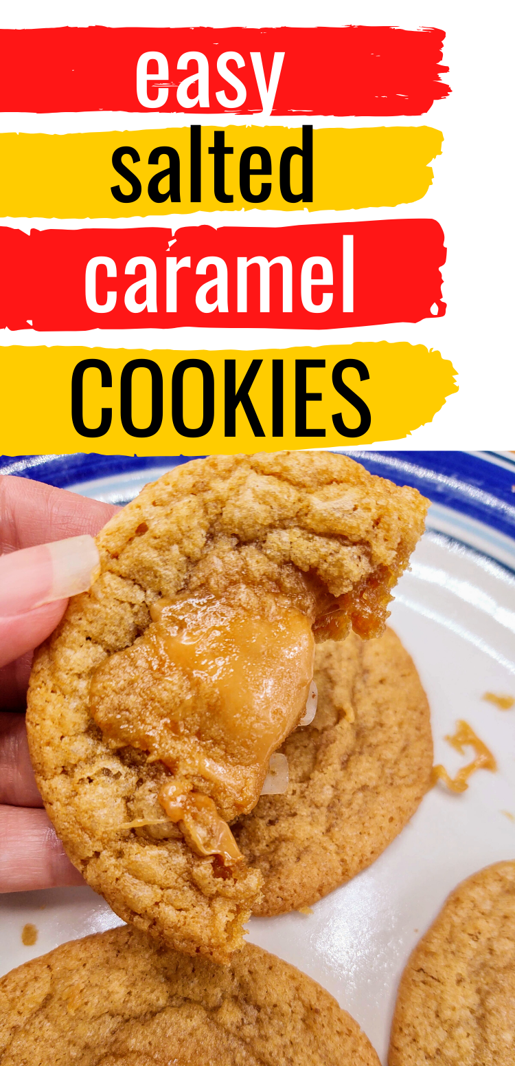 """Pinterest image of salted caramel cookie with bite take out. Text reads, """"easy salted caramel cookies"""""""