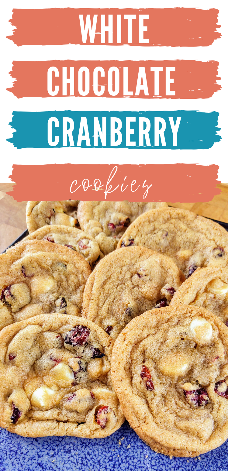 """Pinterest image with plate of white chocolate cranberry cookies. text reads, """"white chocolate cranberry cookies"""""""