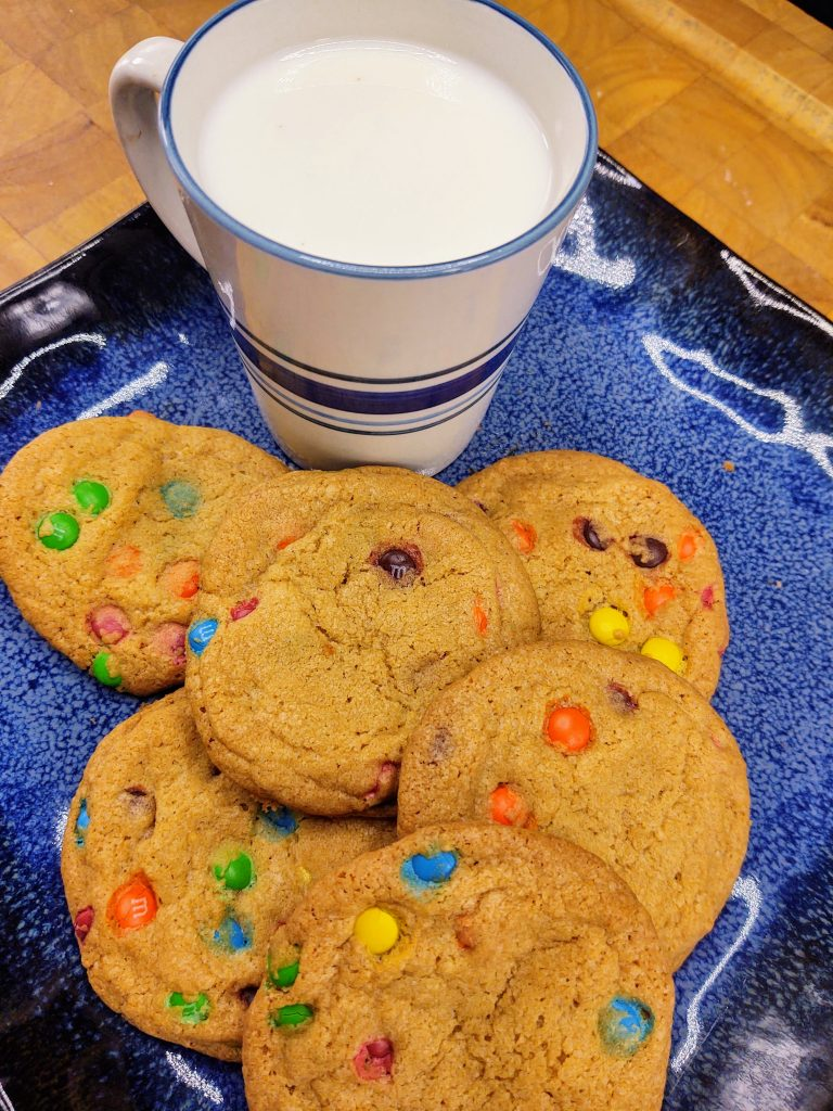 plate of milk and cookies