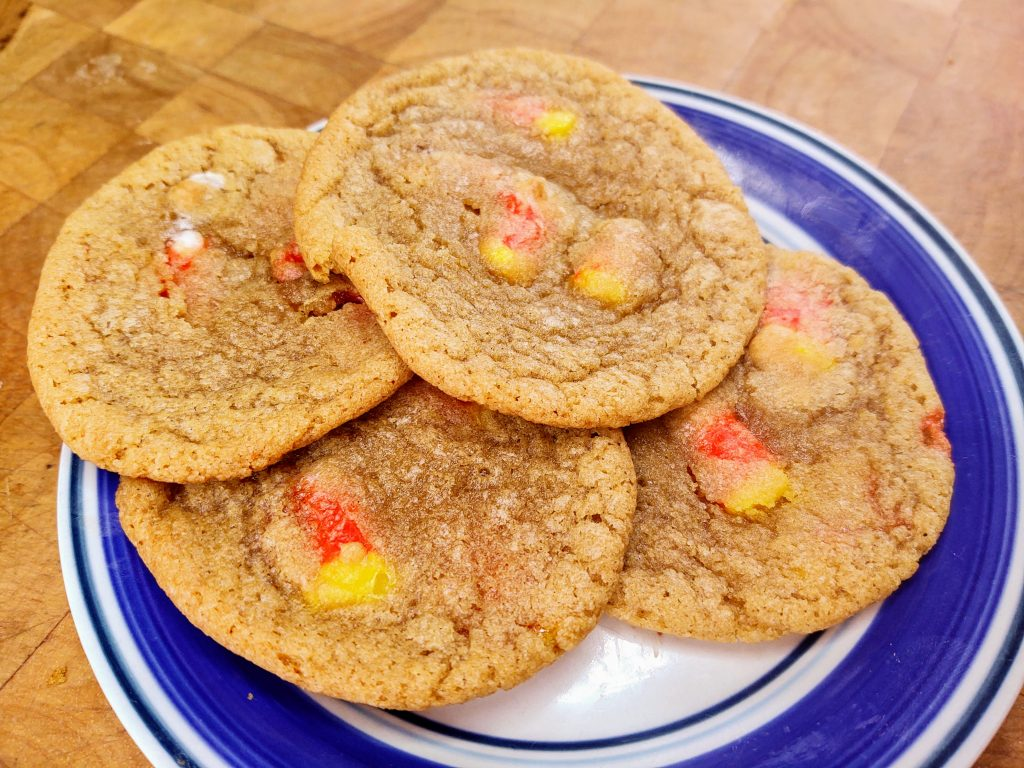 candy corn cookies on a plate