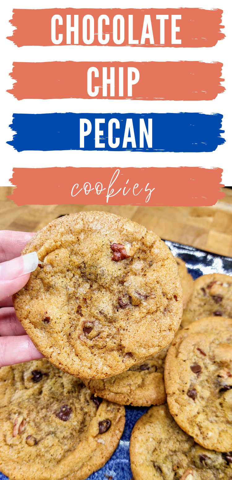 "pinterest image of chocolate chip pecan cookies. text reads, ""chocolate chip pecan cookies"""