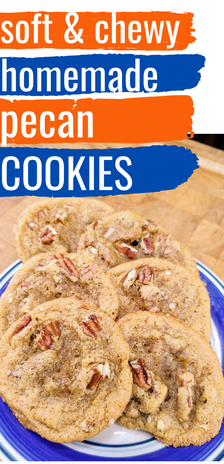 "pinterest image of pecan cookies. text reads, ""soft & chewy homemade pecan cookies"""